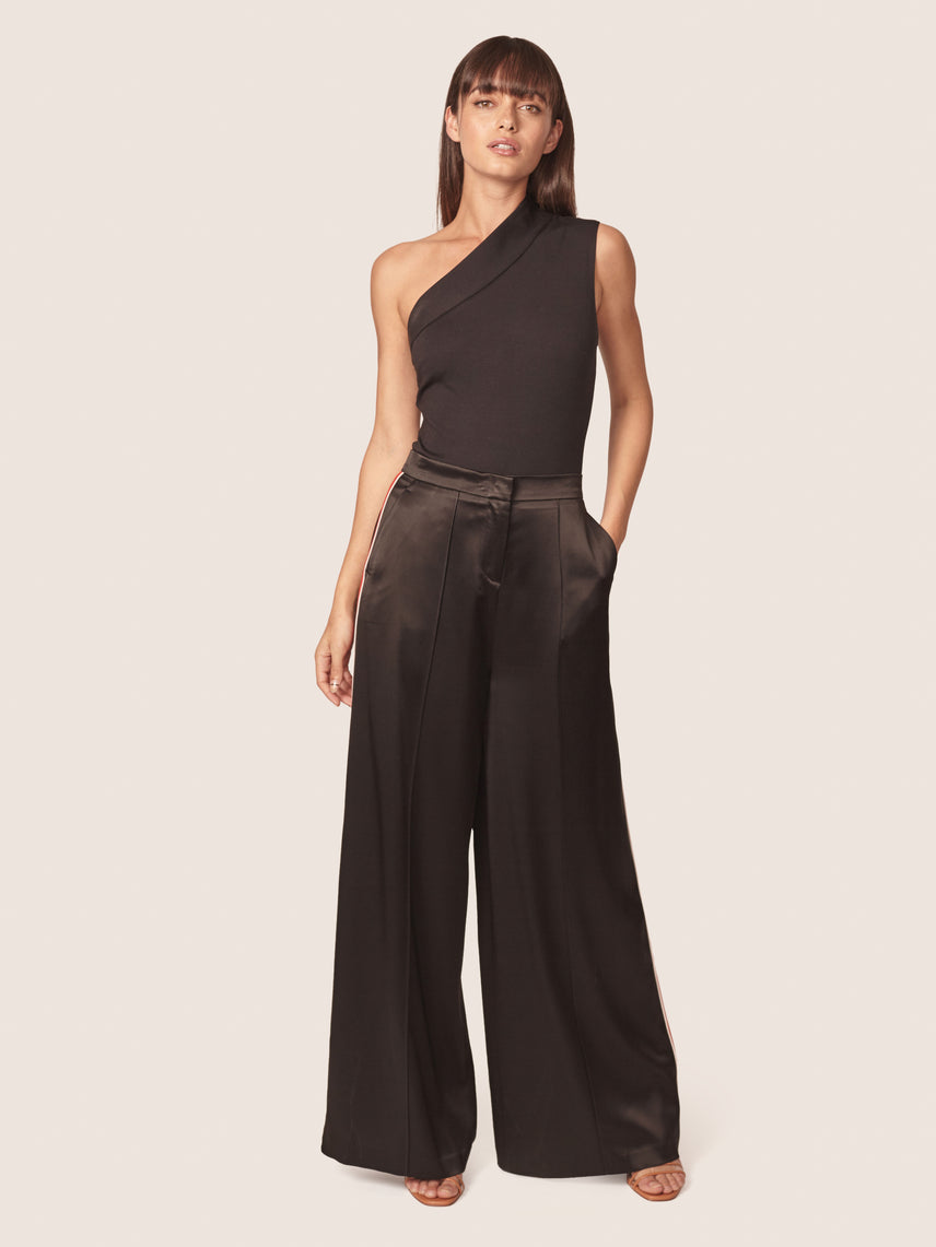 Satin wide leg pant with contrast red side panels Alternate