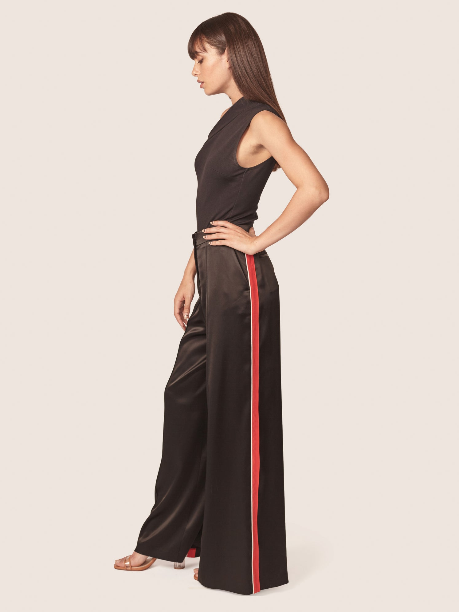 Satin wide leg pant with contrast red side panels