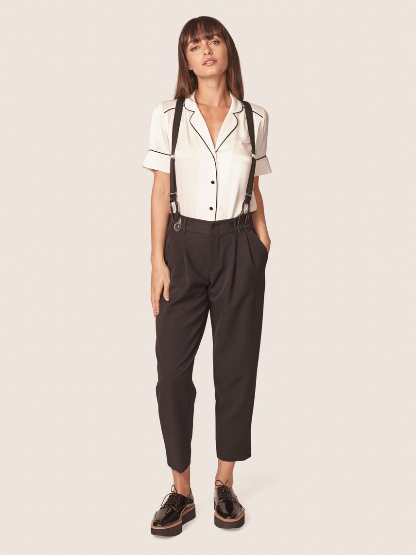 High rise suspender pants