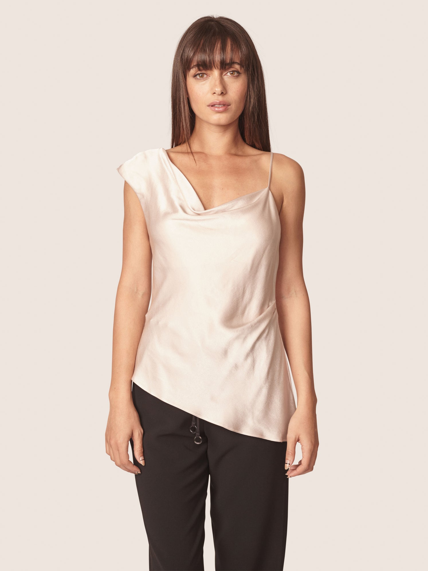 Satin one shoulder top with an asymmetrical hem and cowl neckline