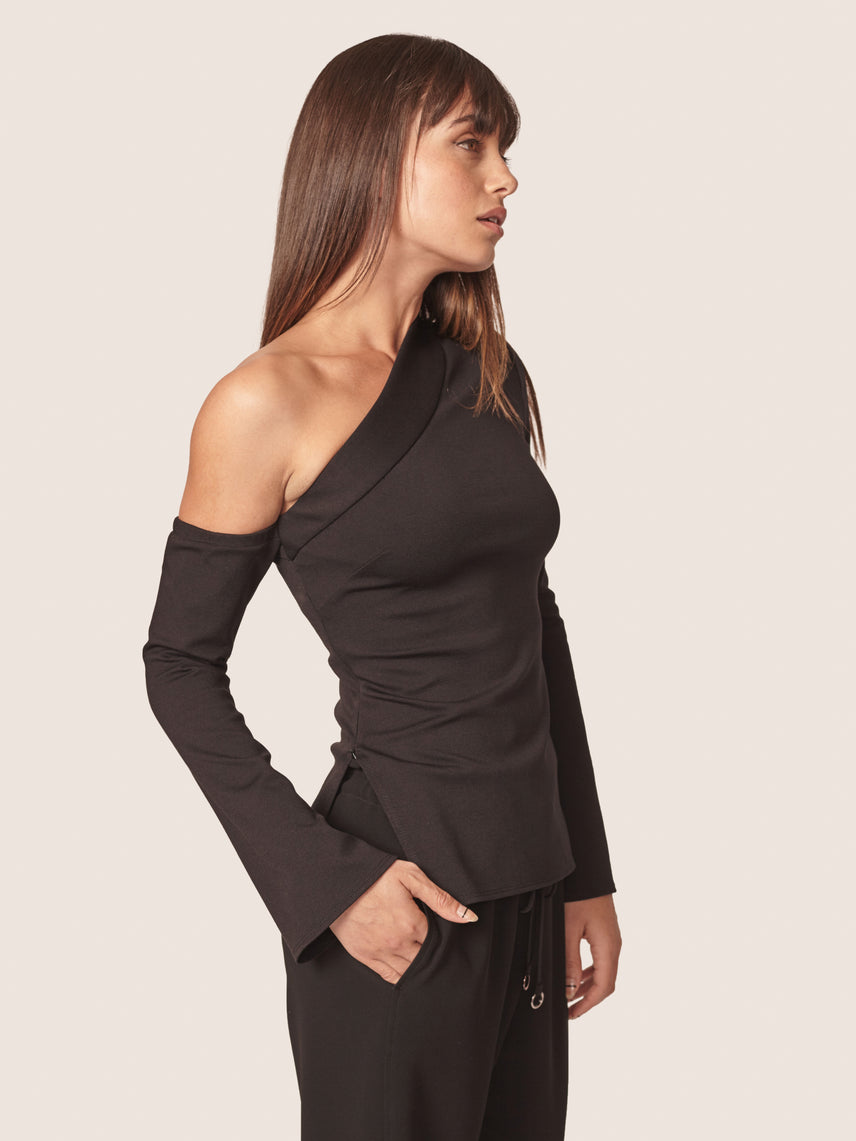 Black one shoulder top with sleeves and side zipper slit Alternate