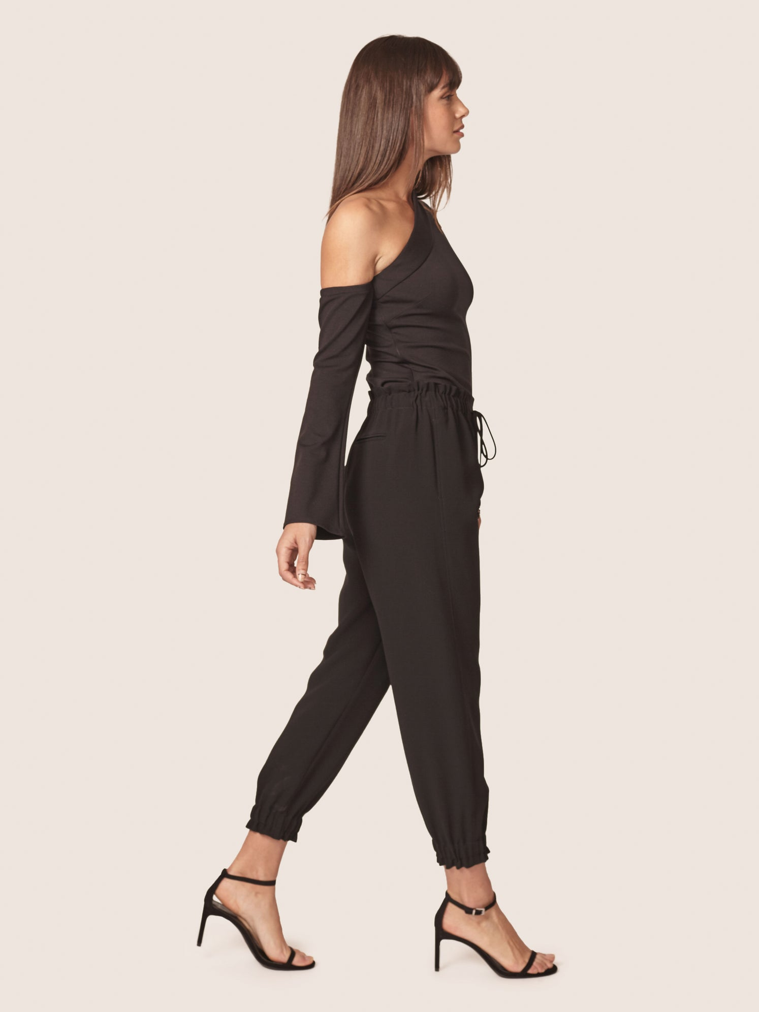 Shirred waist track pants with side pockets Alternate
