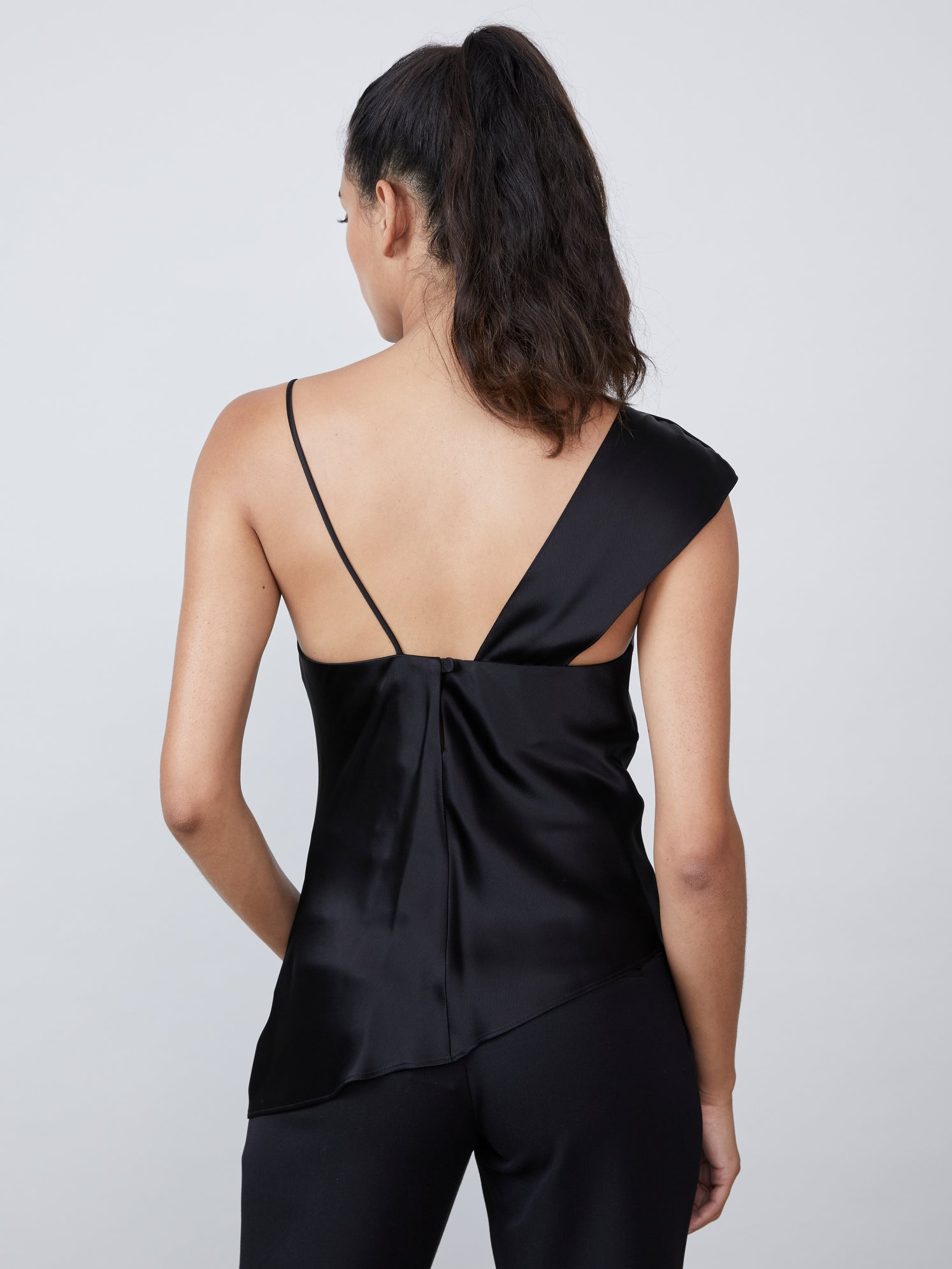 Black crepe satin one shoulder top with asymmetrical hemline and cowl neckline Alternate