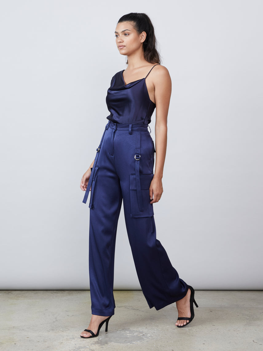 Utility cargo pant matte satin straight leg lower pocket high waisted pant