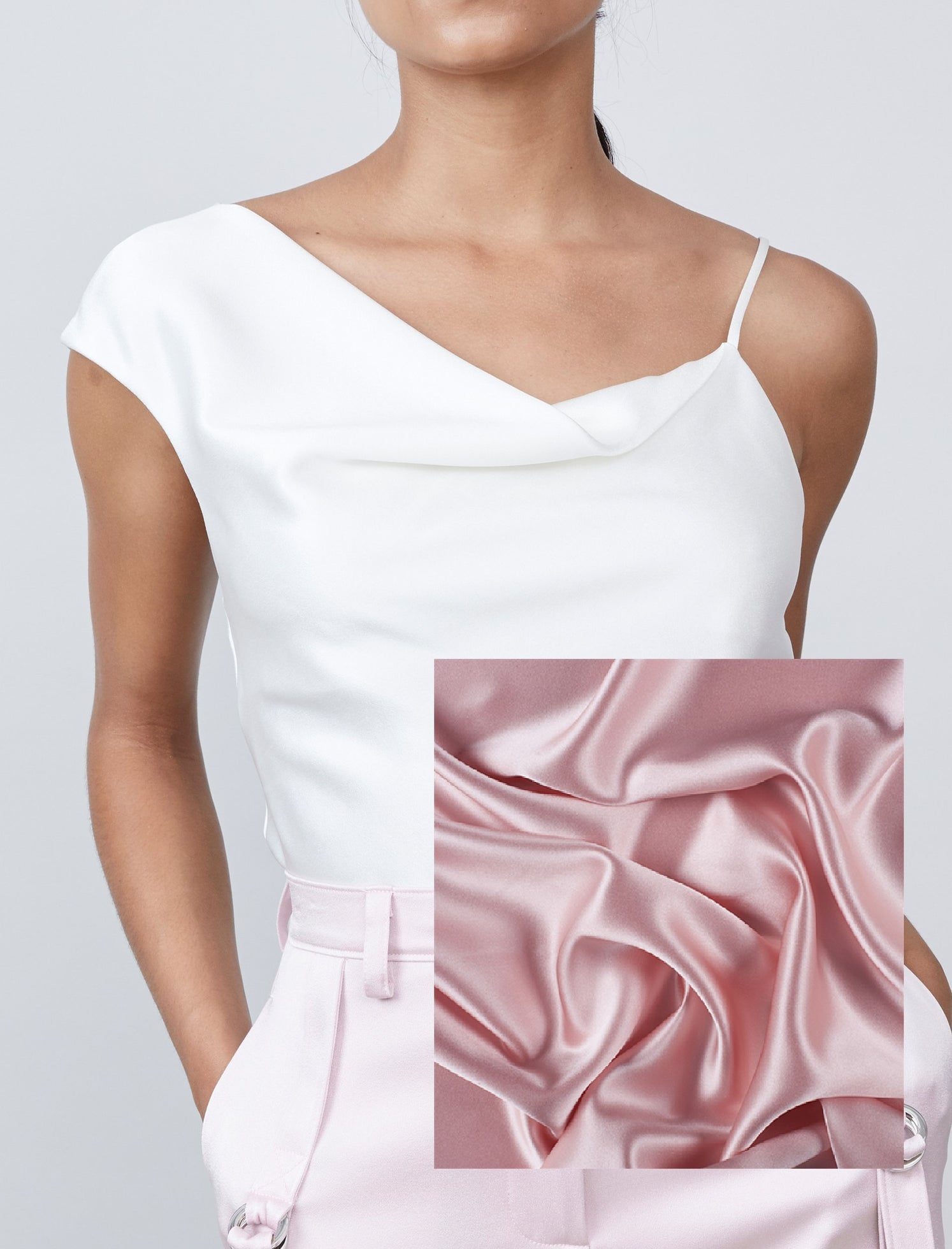 Simone Asymmetrical Top -Pink