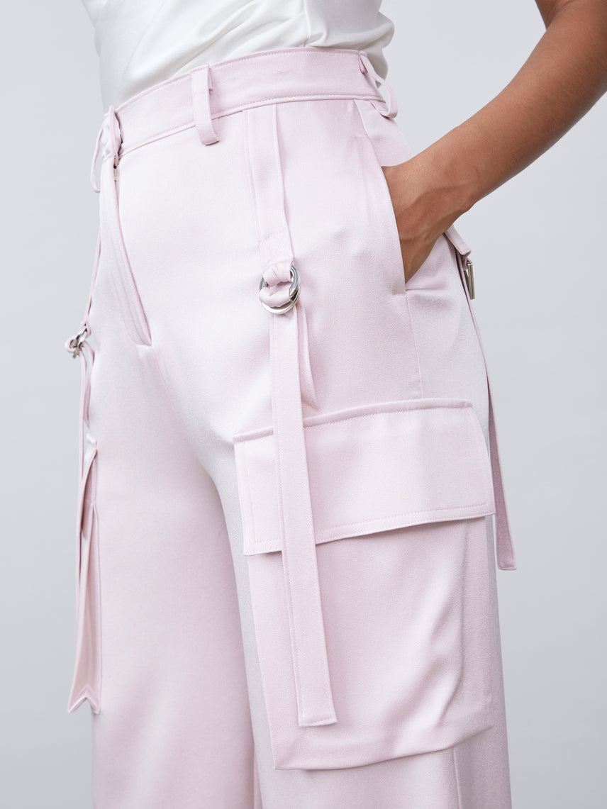 Utility cargo pant matte satin straight leg lower pocket high waisted pant Alternate