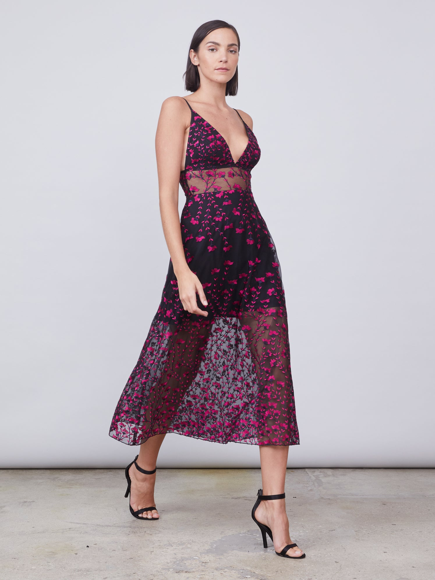 Floral print embroidered mesh v-neck dress