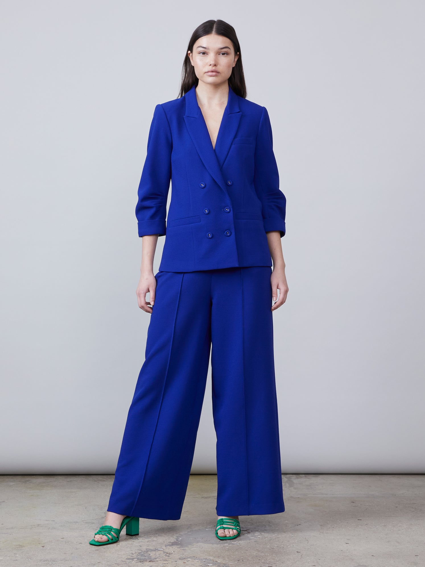 Royal blue high waisted wide leg crepe pants