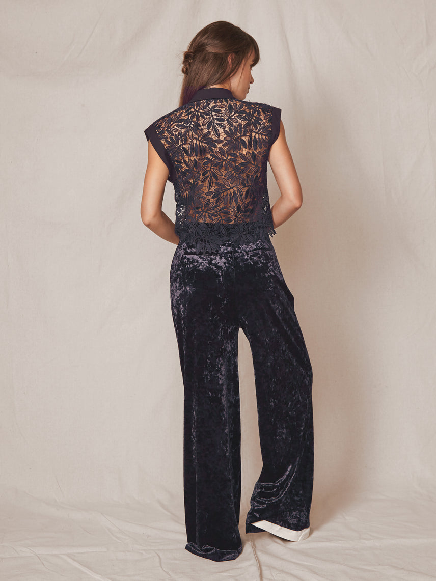High-waisted loose wide leg pants in crushed velvet Alternate