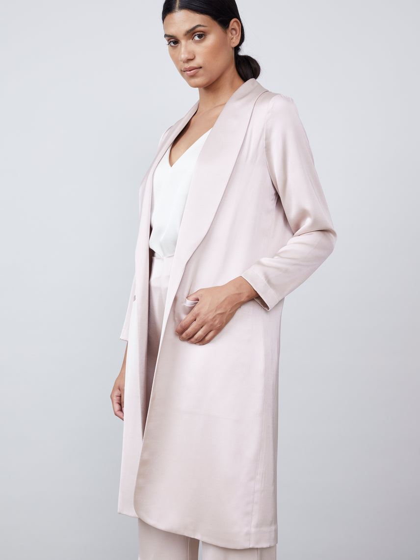 Matte satin duster length front pocket split back jacket Alternate
