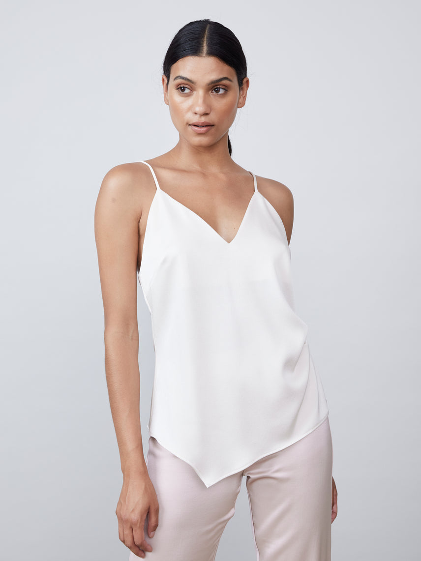 Satin deep-v cami with side ruching detail and asymmetrical hem
