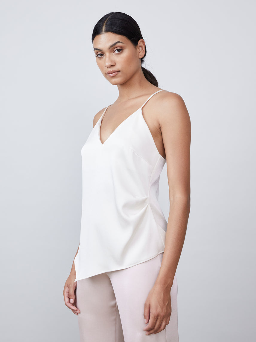 Satin deep-v cami with side ruching detail and asymmetrical hem Alternate
