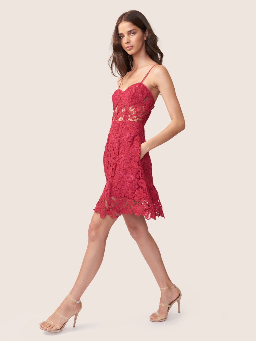 Mini magenta jacquard lace bustier dress with semi-sheer bodice and side pockets