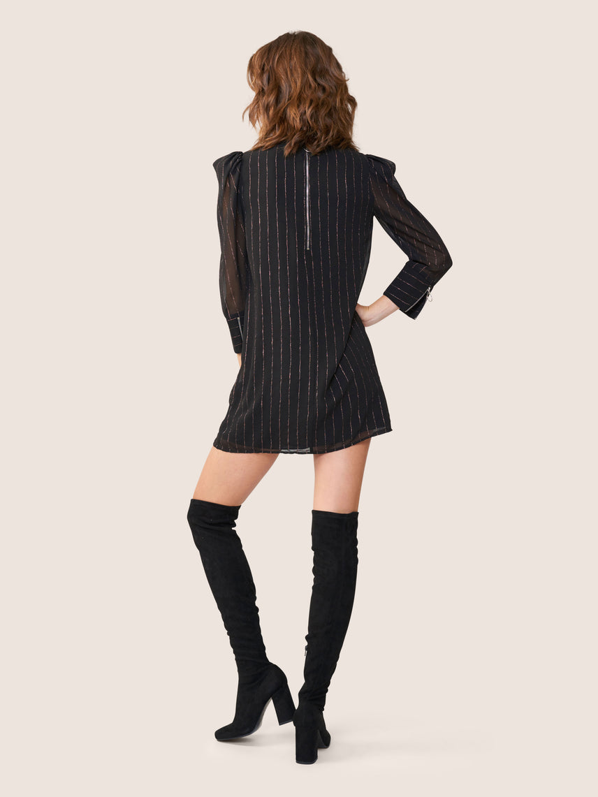 Black statement shoulder shift mini dress with metallic pinstripes Alternate