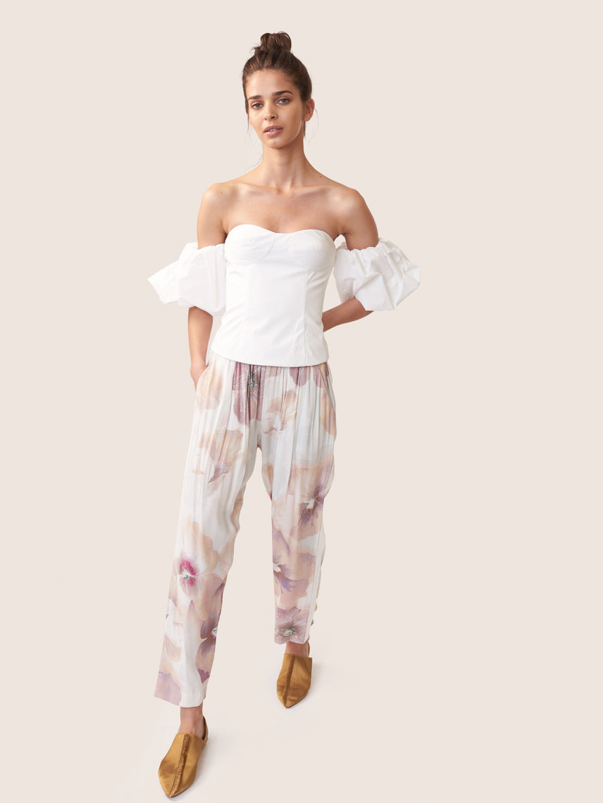 Floral printed satin cropped pant with ivory side stripe Alternate