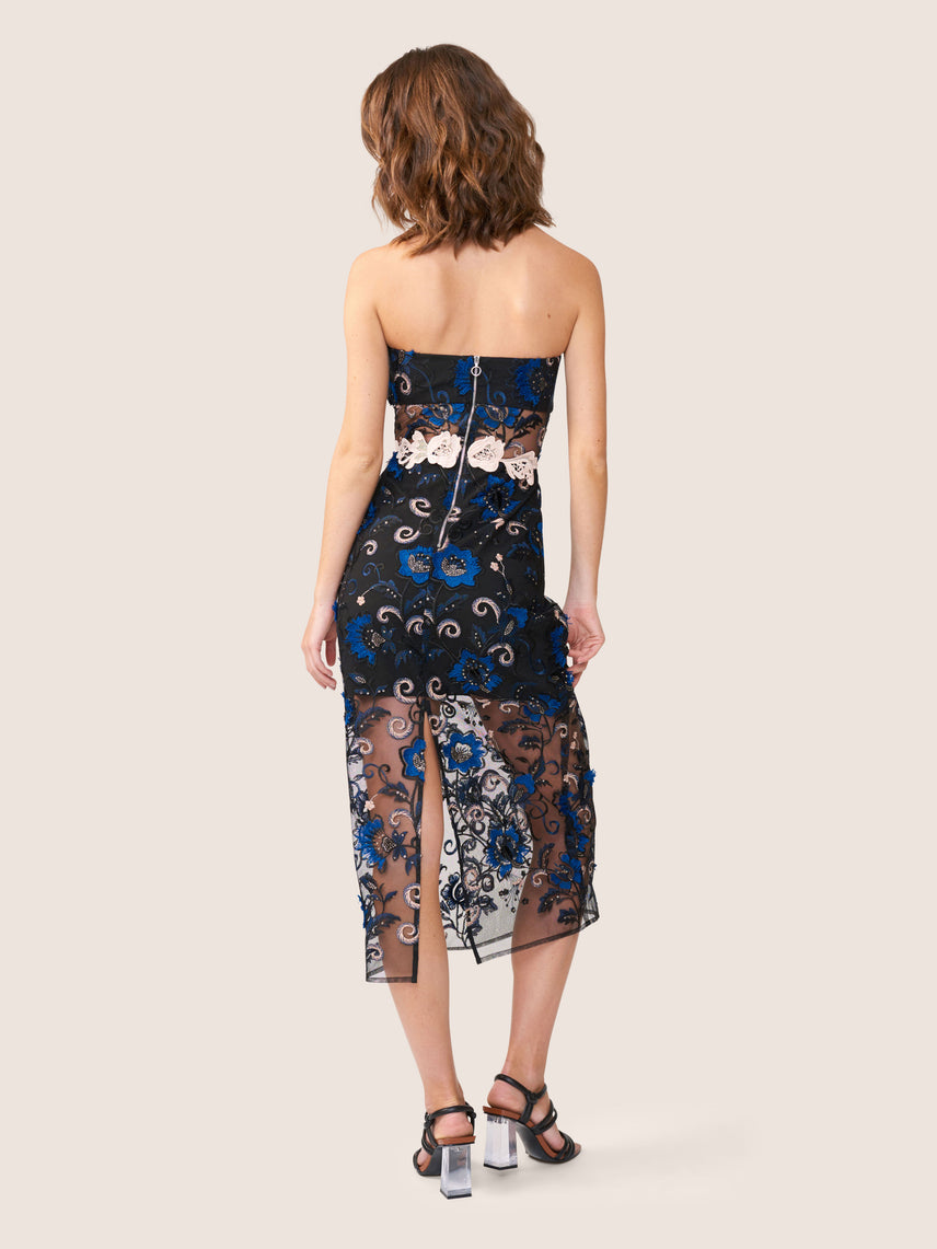 Strapless embroidered lace dress with semi-sheer midriff panel and midi-length skirt overlay Alternate