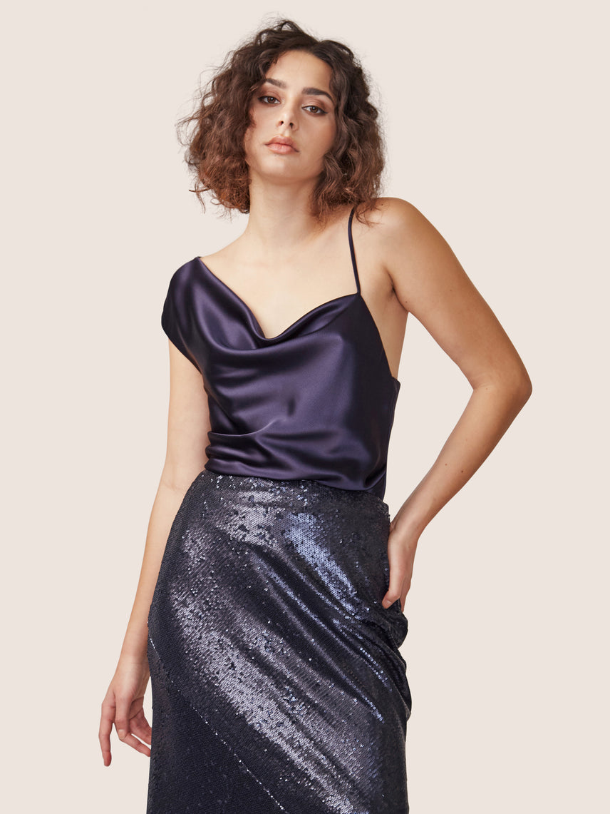 High waisted full length sequin skirt Alternate