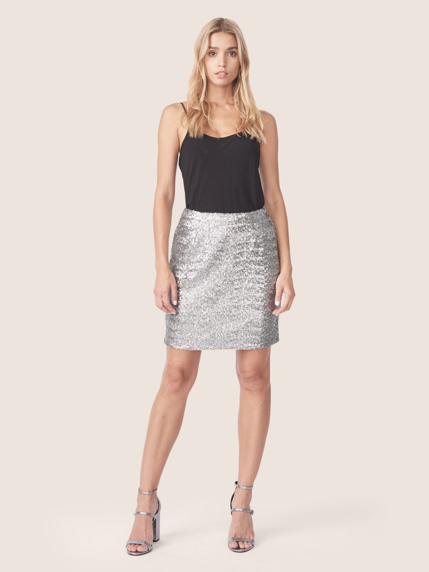 Front view of silver sequin mini skirt