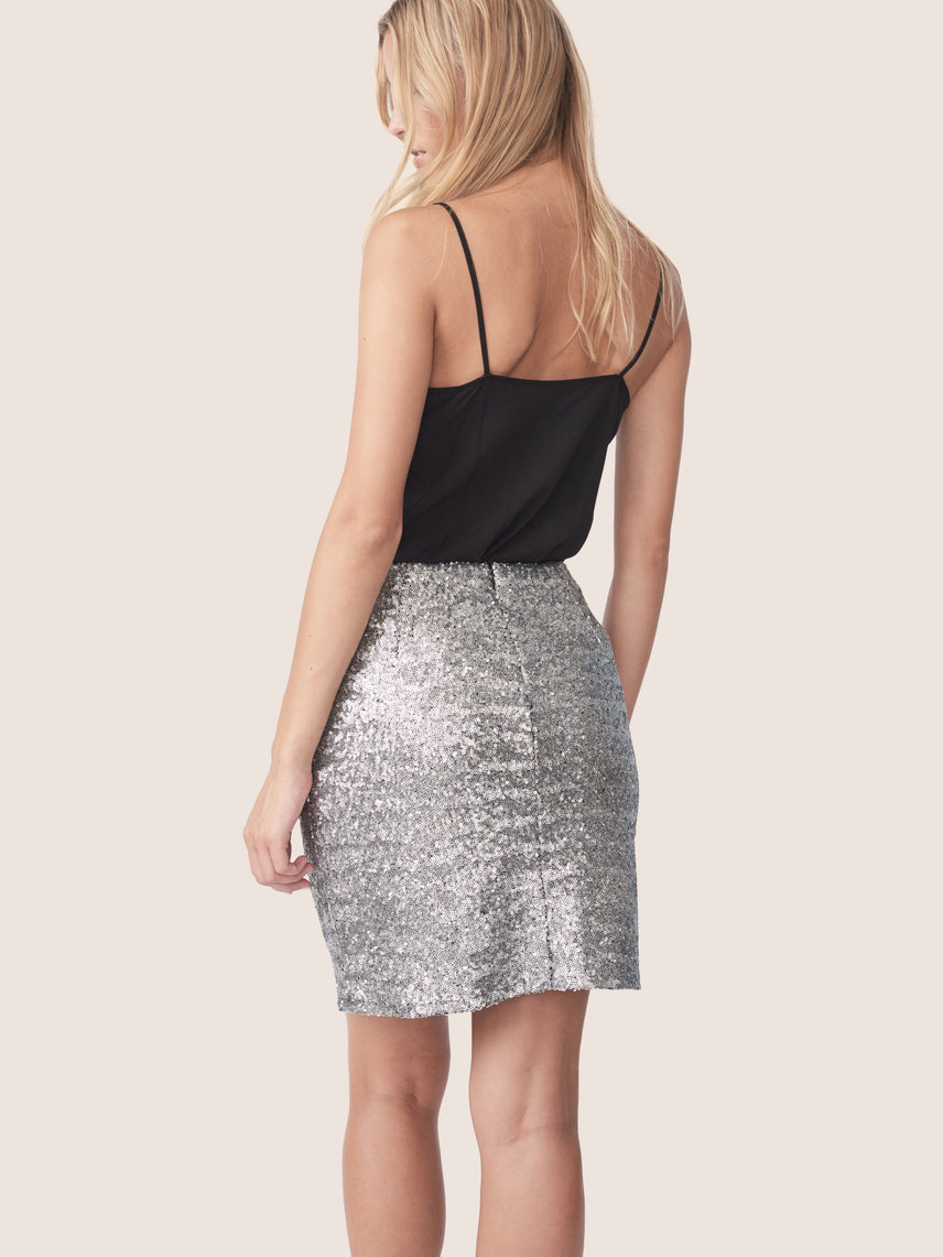 Back view of silver sequin mini skirt Alternate