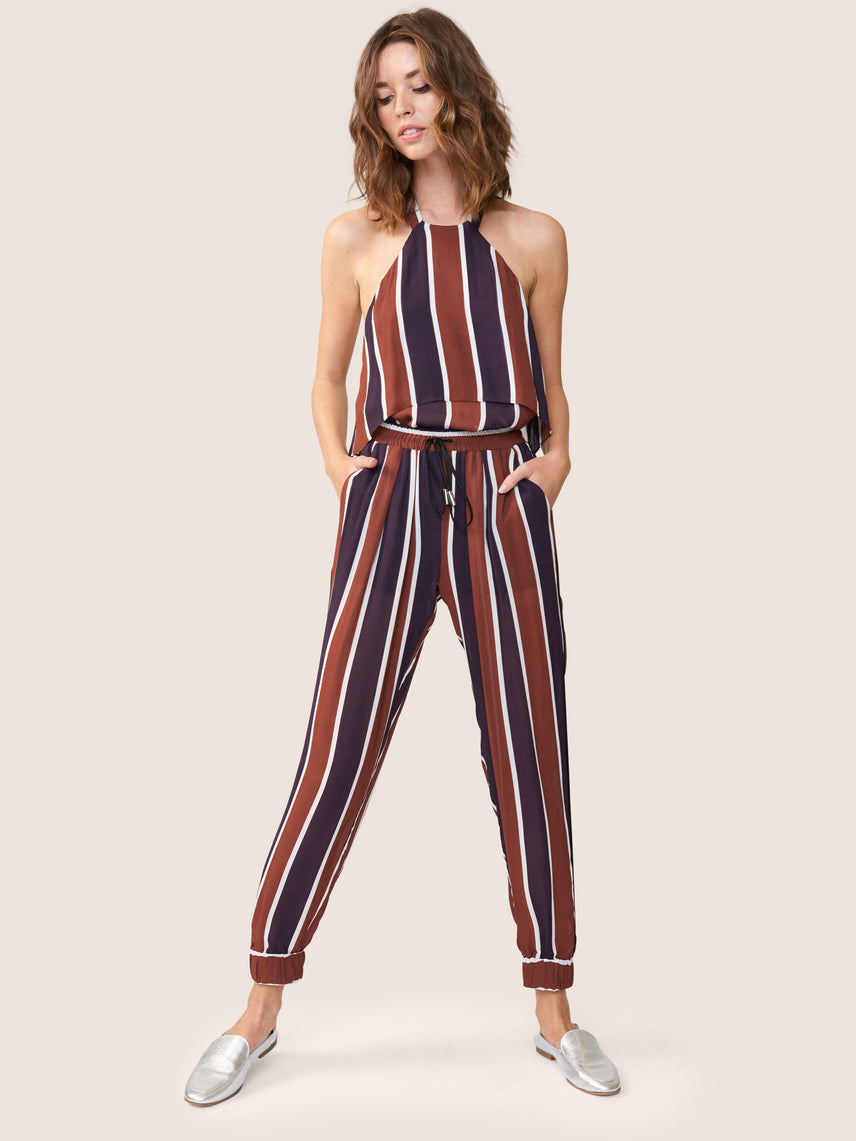Striped halter top with exposed back and matching track pant