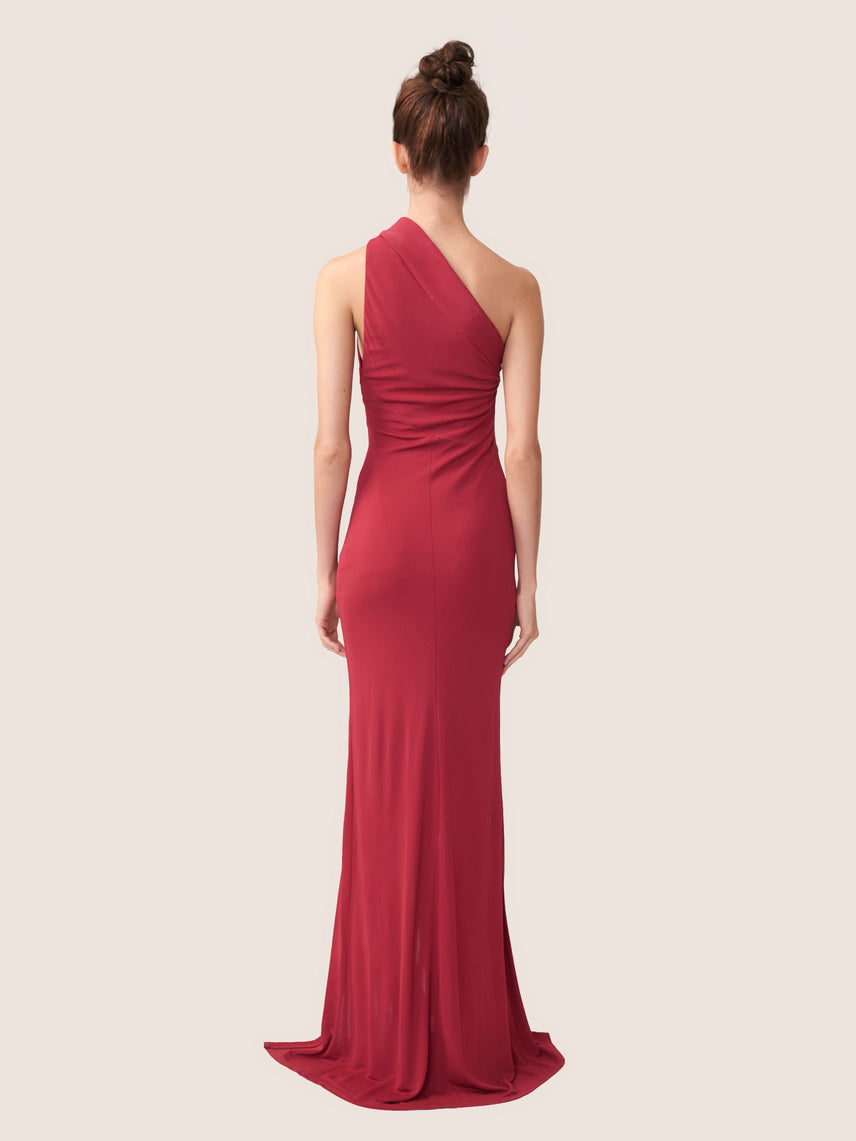 One shoulder gown with center cutouts and front leg slit