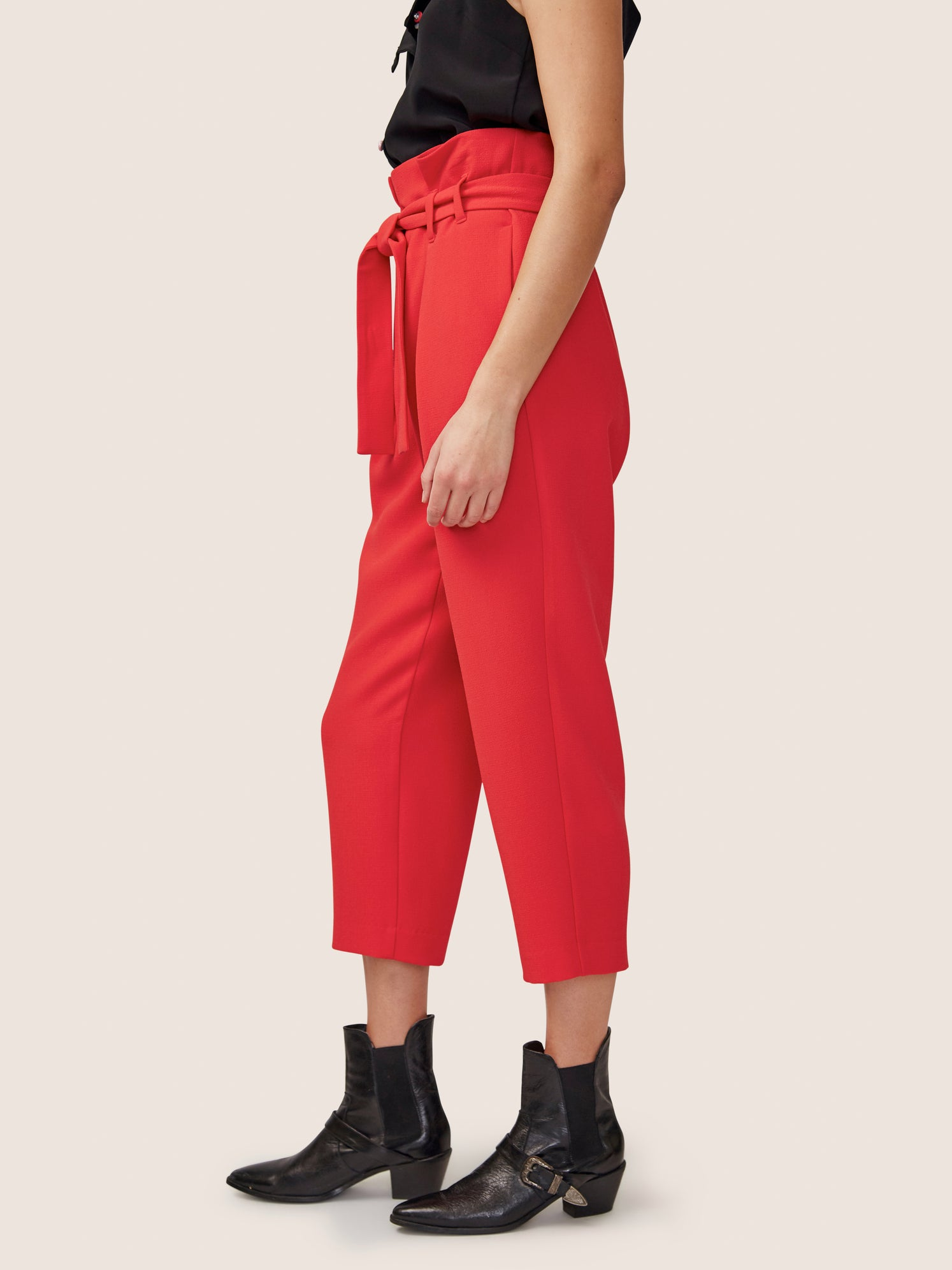 Flame red cropped paper bag pant with front tie
