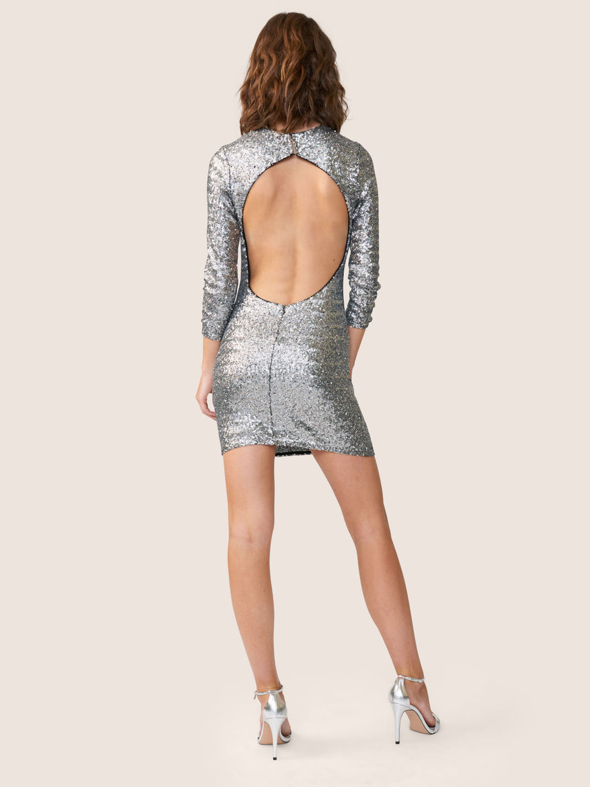 Back view of sparkly sequin mini bodycon dress with open back Alternate