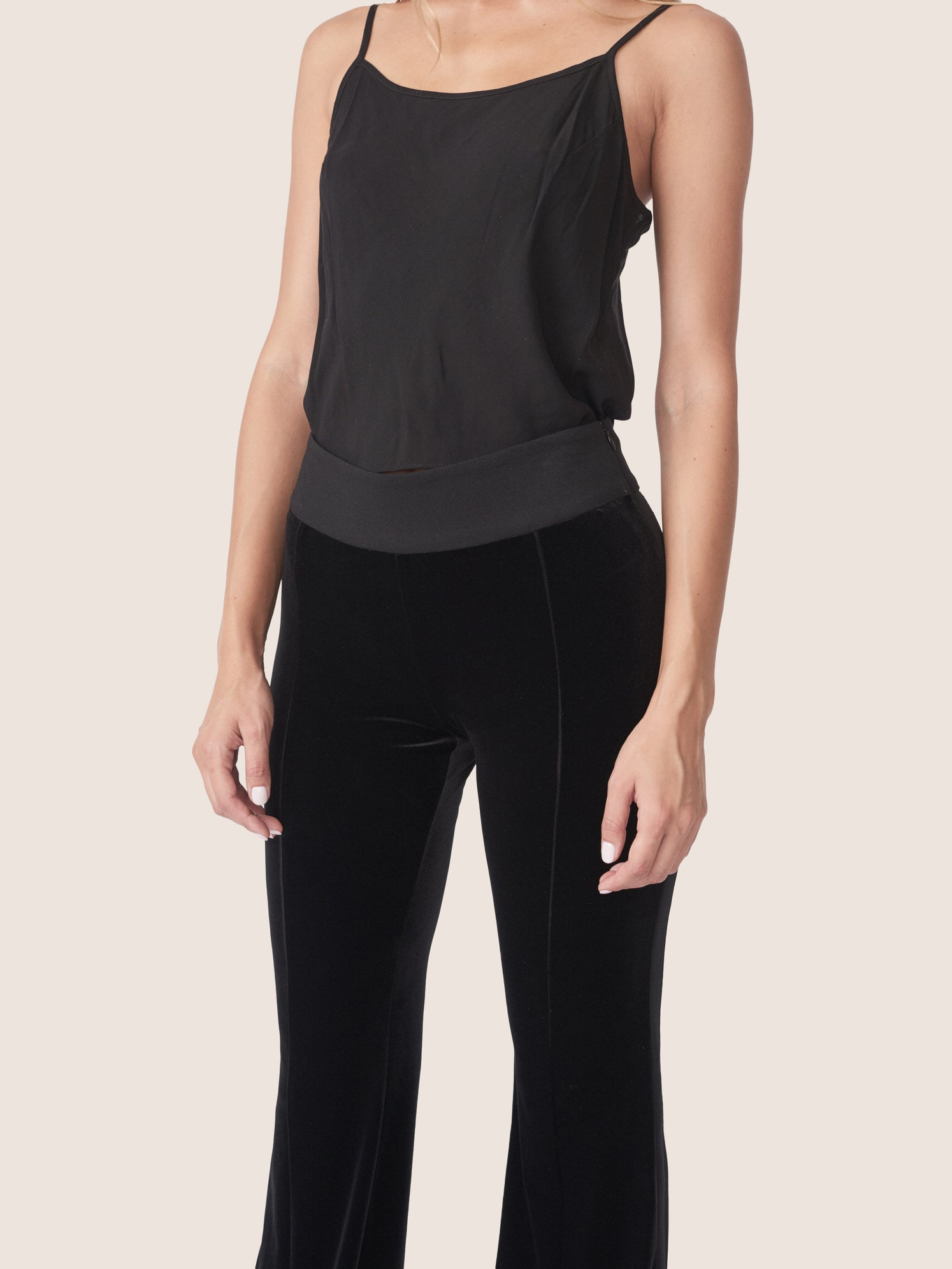 Stretch velvet slim flared pants with a contrast waistband and side stripe