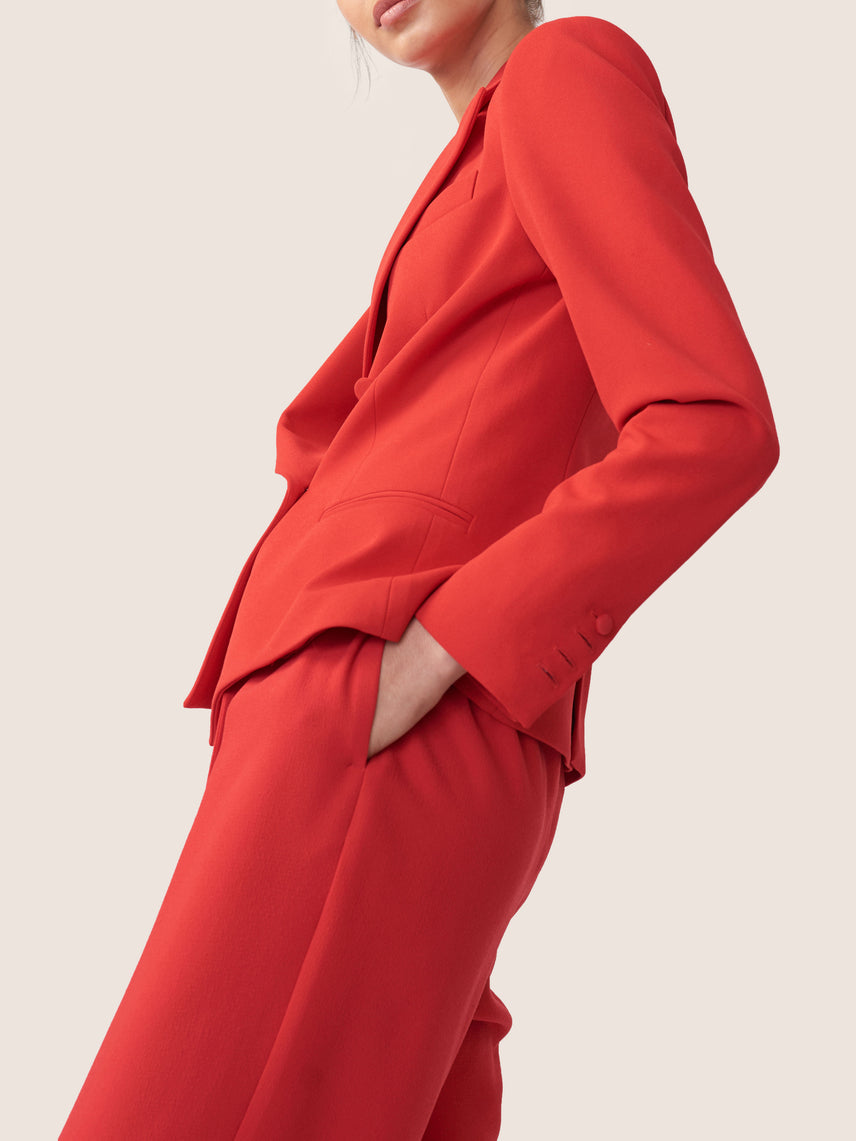 Woven crepe red double breasted blazer Alternate
