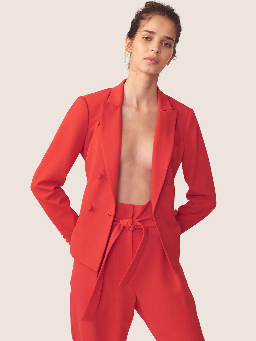 Woven crepe red double breasted blazer