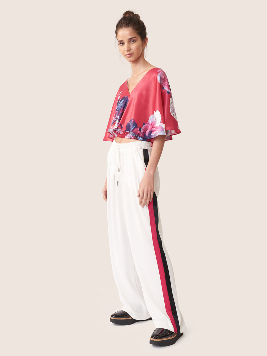 Wide-leg track pant with colored side panels