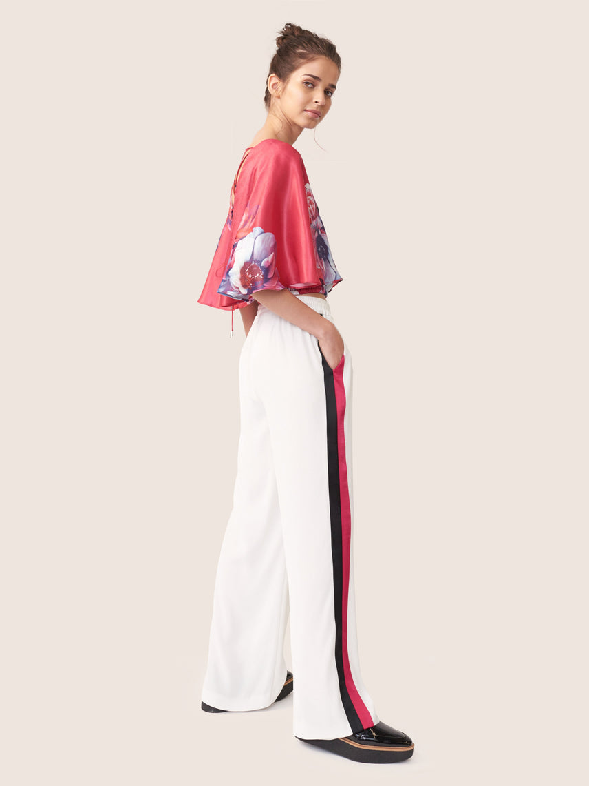 Wide-leg track pant with colored side panels Alternate