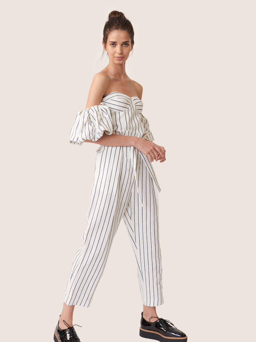 Striped linen off shoulder crop top with bustier bodice and puff sleeve