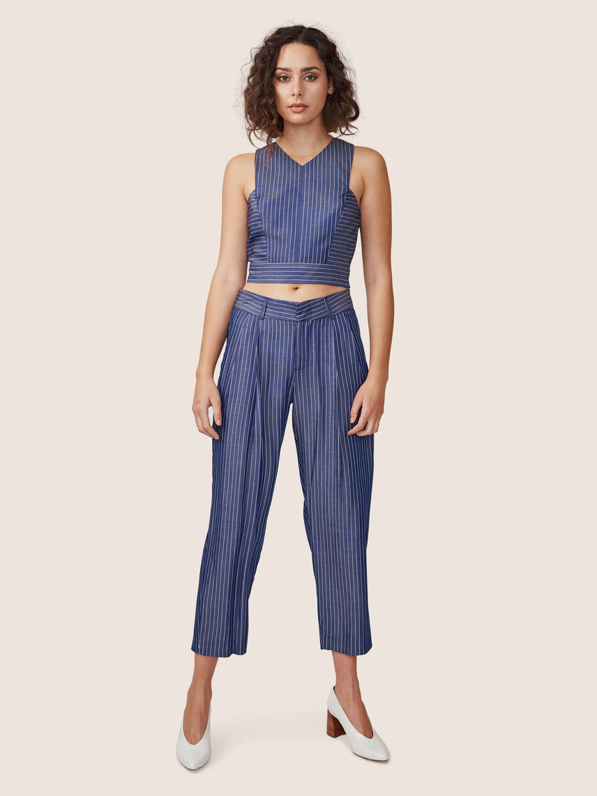 Relaxed pin stripe cropped pants with pleats and matching cross back crop top