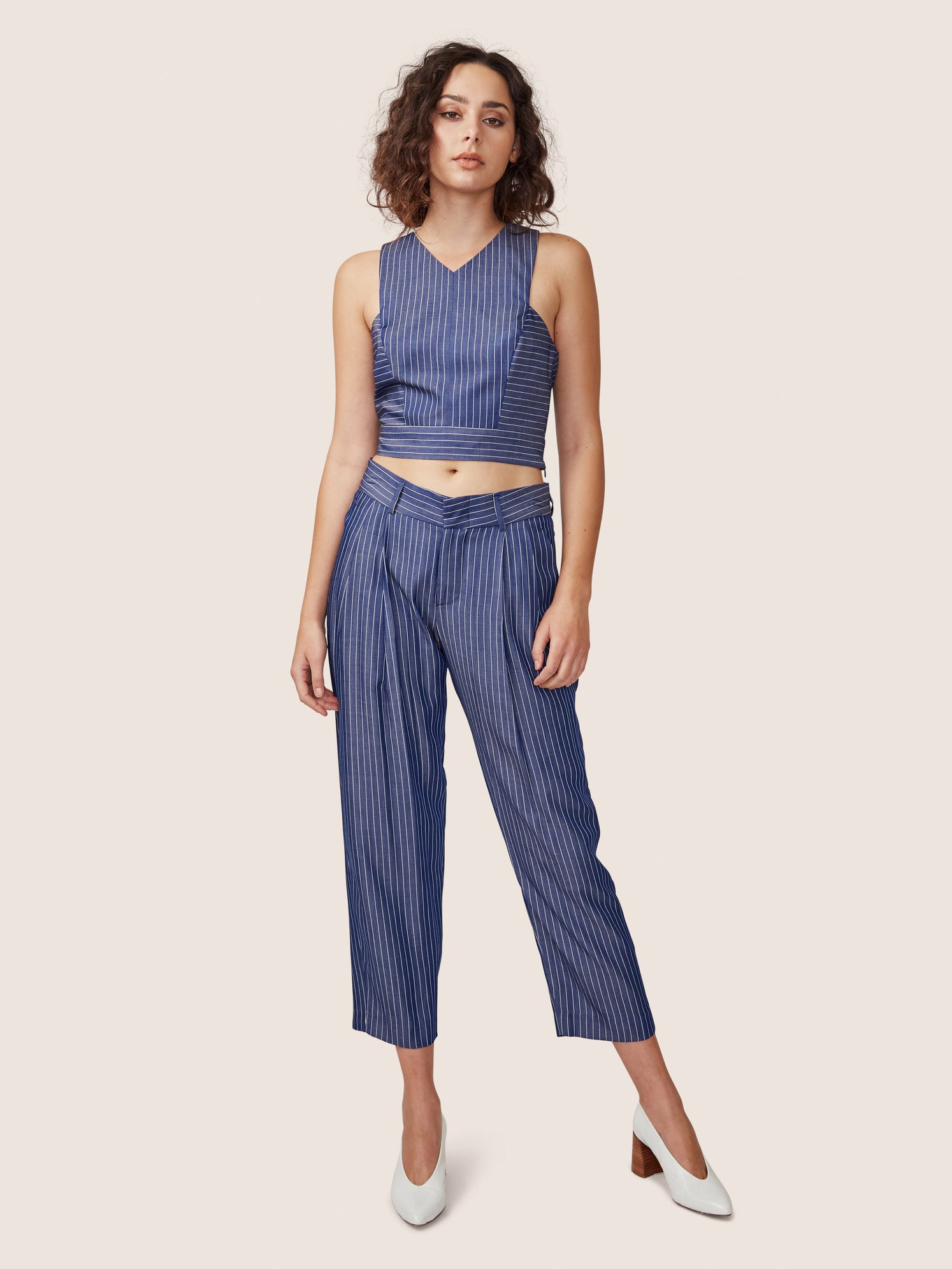 Pin stripe cross back crop top with matching relaxed cropped pleated pant Alternate