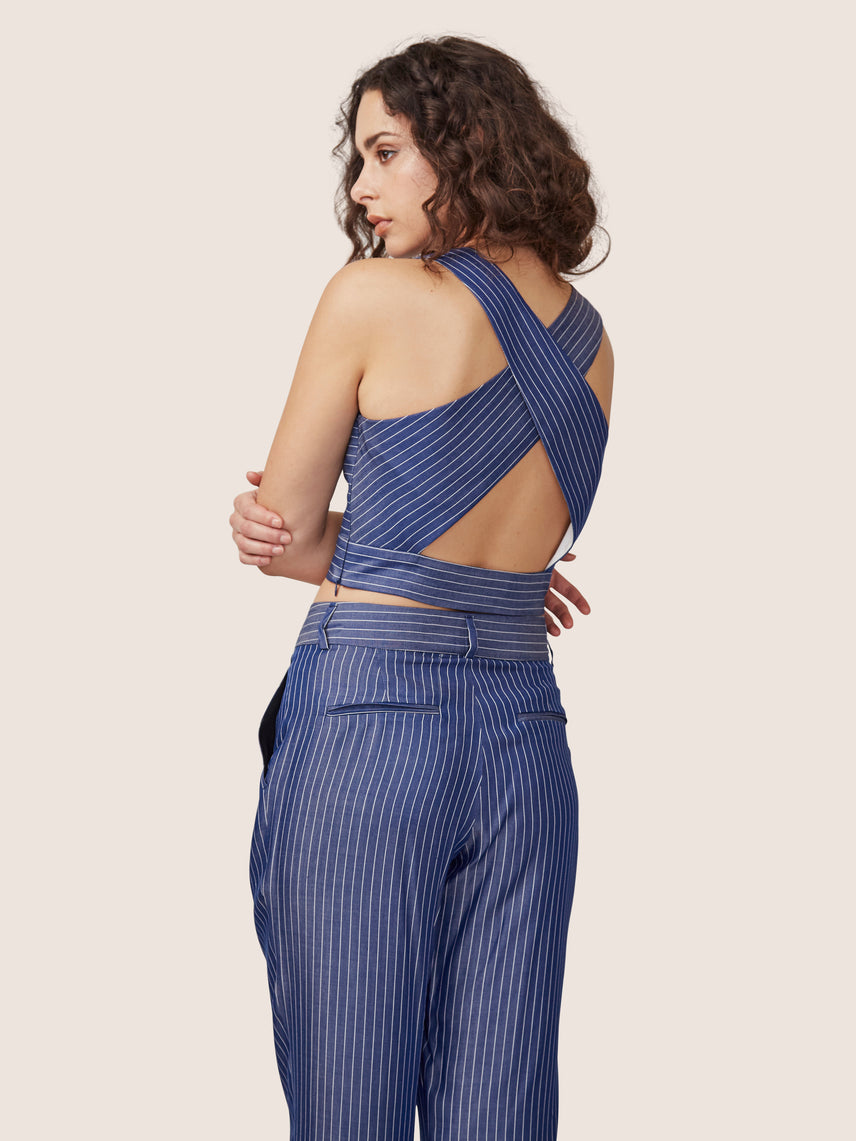Pin stripe cross back crop top with matching relaxed cropped pleated pant