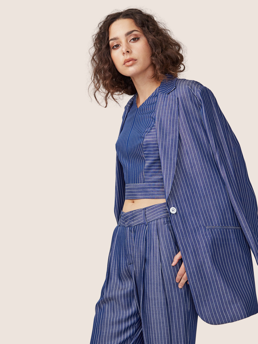 Pin stripe cross back crop top with matching relaxed cropped pleated pant and boyfriend jacket
