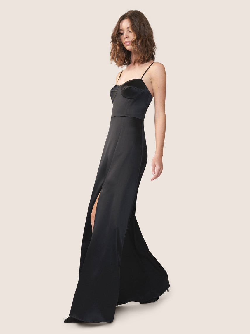 Black satin bustier gown with knee-high slit