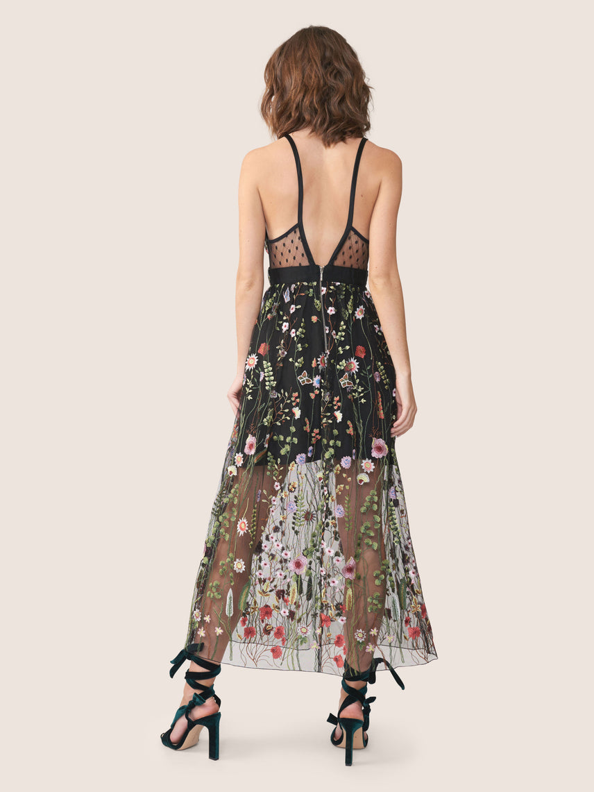 Floral embroidered mesh deep-v dress with side pockets Alternate