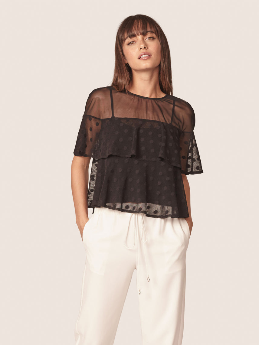 Sheer polka dot printed top with ruffled overlay