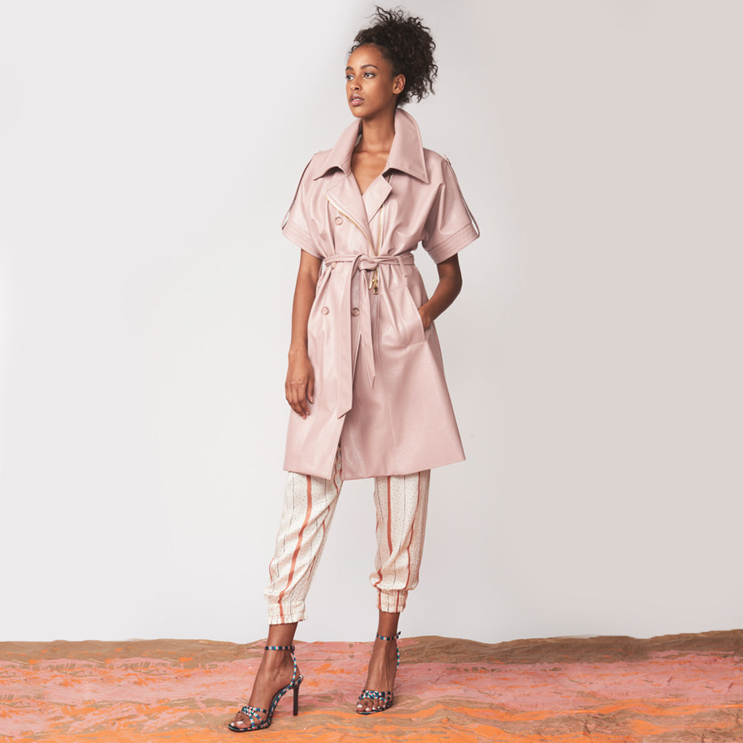 Vegan patent leather short-sleeved trench coat with front tie belt and cinched waist
