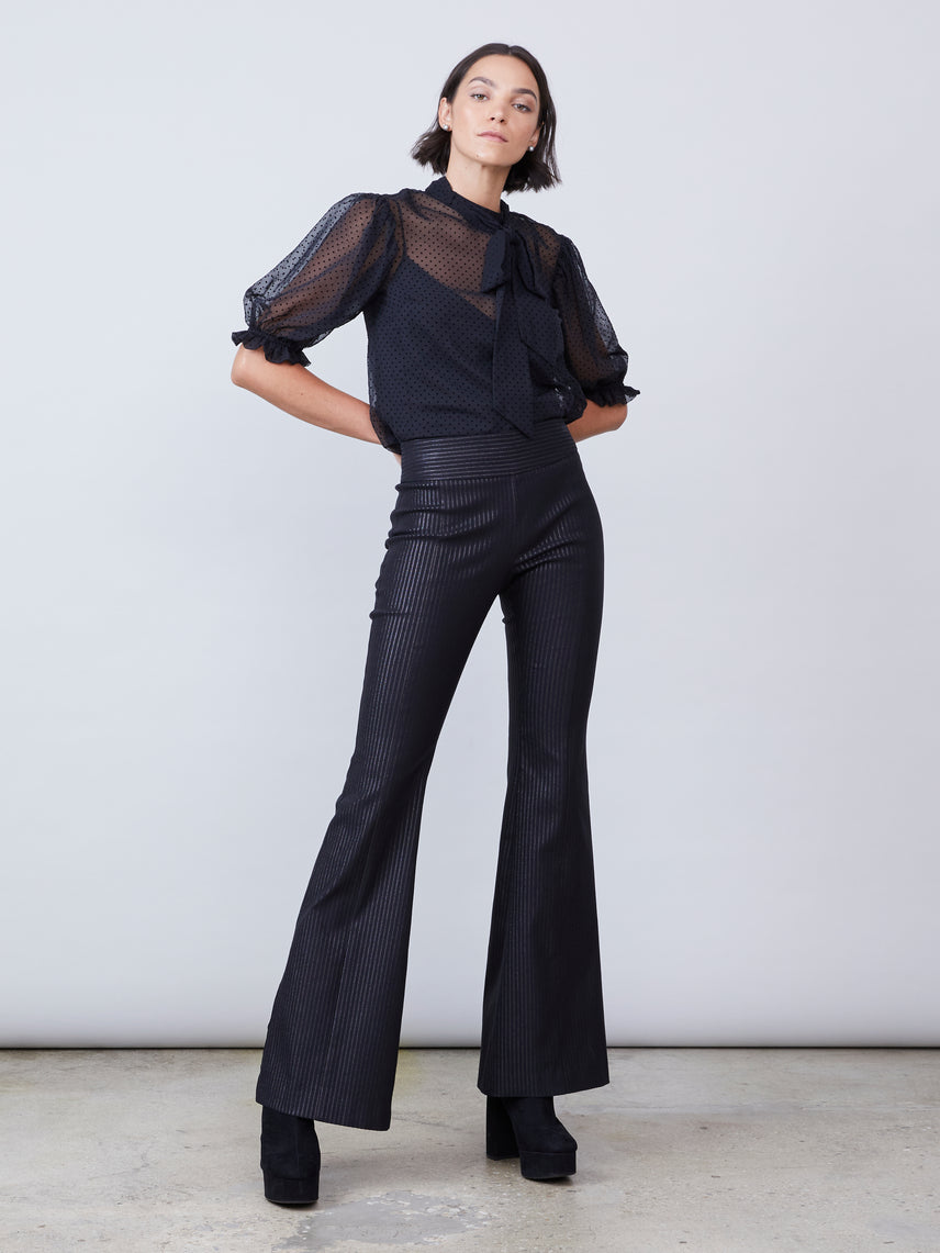 Black metallic stripe slim flare pant