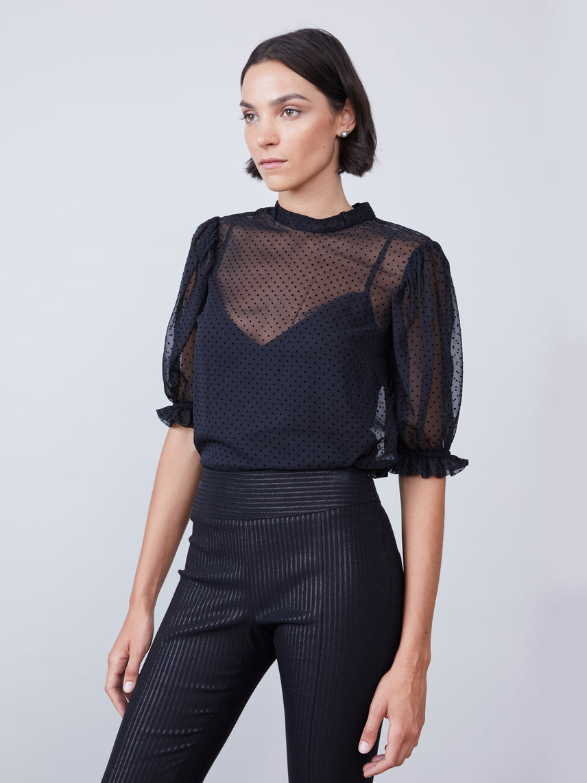 Sheer black blouse with neck tie