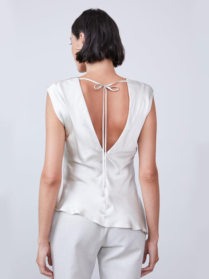 V-neck silk top with open back