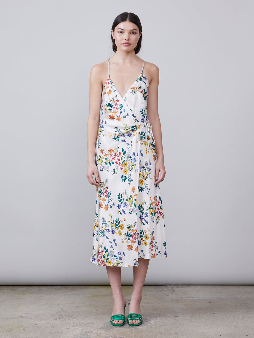 Front view of the Thelma Wrap Dress in ivory multi color floral print