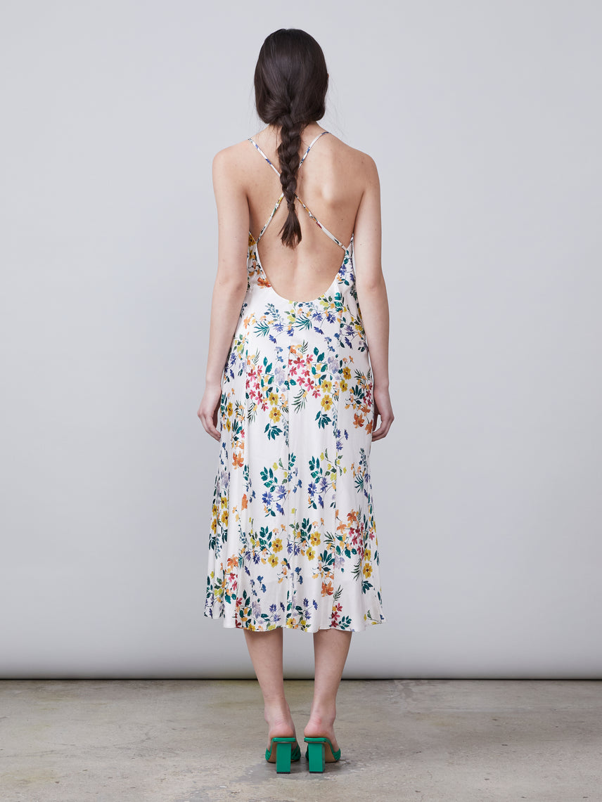 Back view of cross ties on the Thelma Wrap Dress in ivory multi color floral print