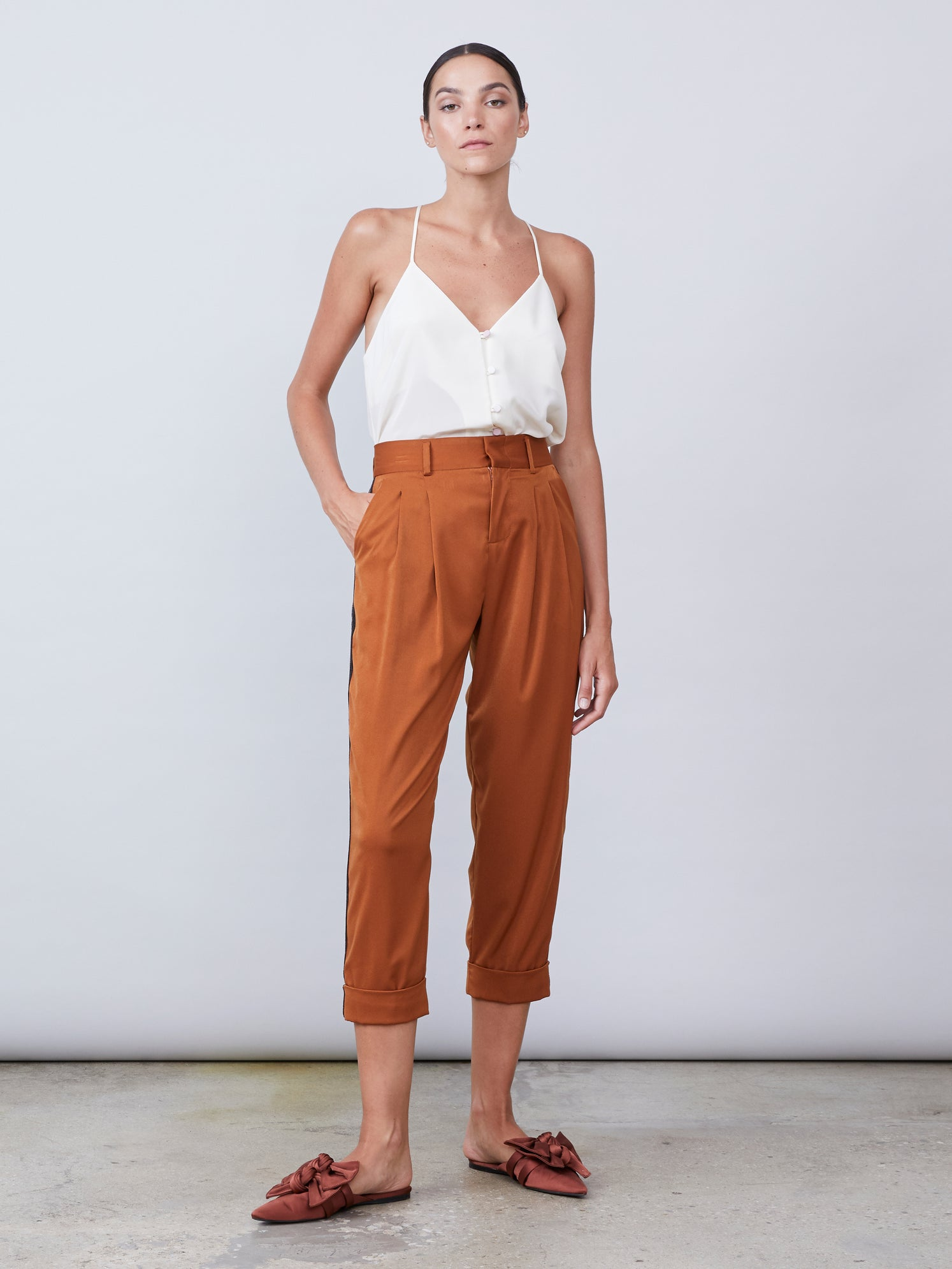 Cropped pant with metallic side stripe and cuffed hem Alternate