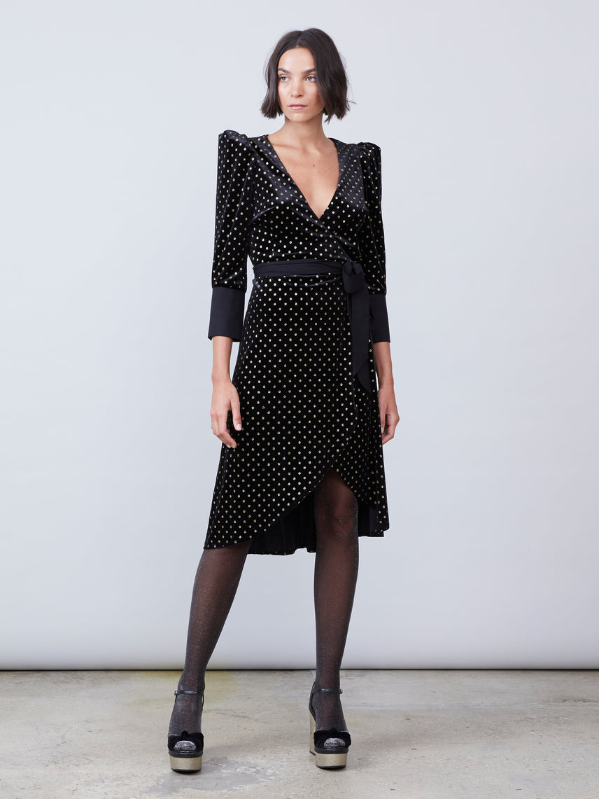 Printed velvet wrap dress with asymmetrical hemline