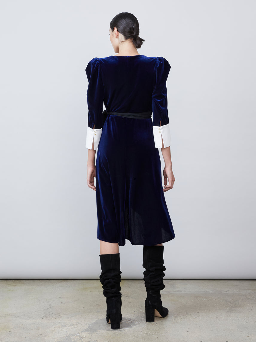 Velvet wrap dress with asymmetrical hemline
