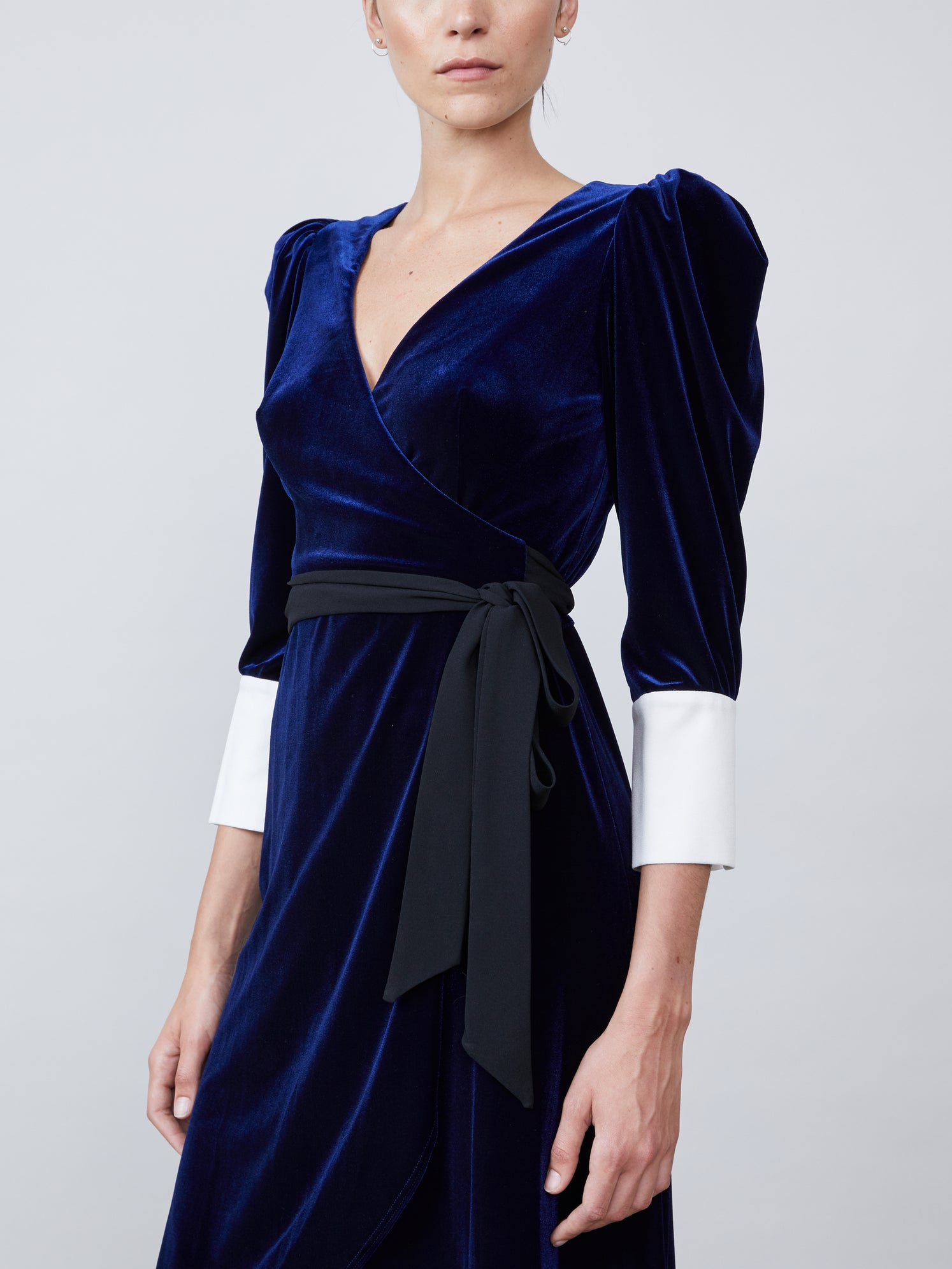 Velvet wrap dress with asymmetrical hemline Alternate